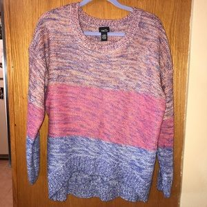 Colorful hi-low sweater